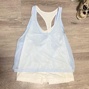 Adidas (NWT!) White Training Tank Top Blue Mesh M